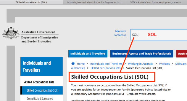 Skilled Occupations List